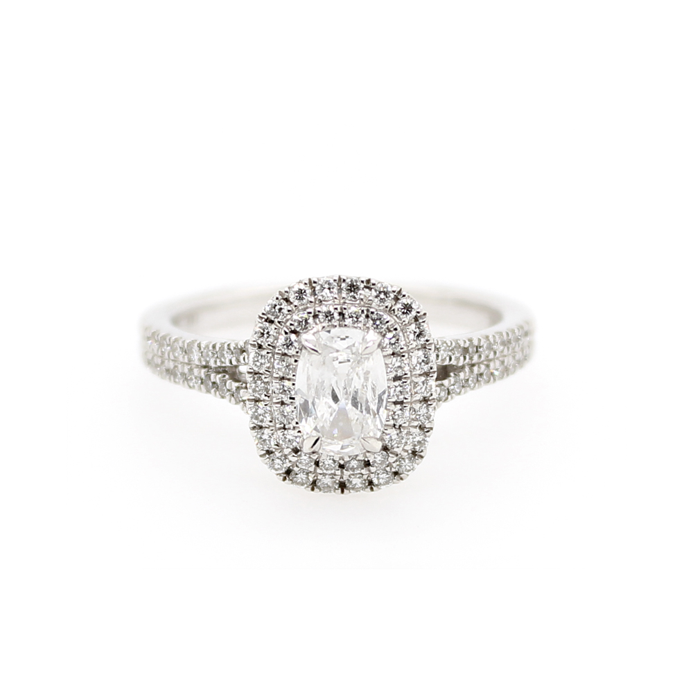 Henry Daussi 14 Karat White Gold Cushion Cut Diamond Ring