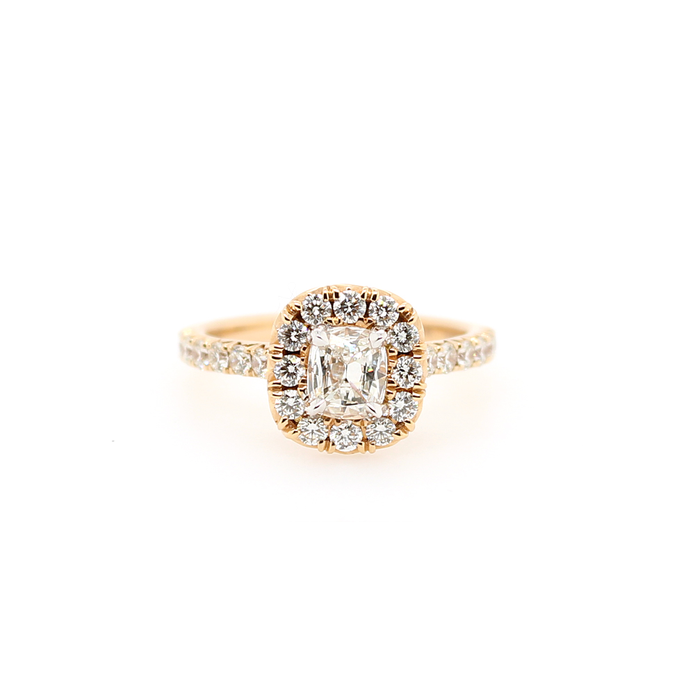 Henry Daussi 18 Karat Rose Gold Cushion Cut Diamond Halo Ring