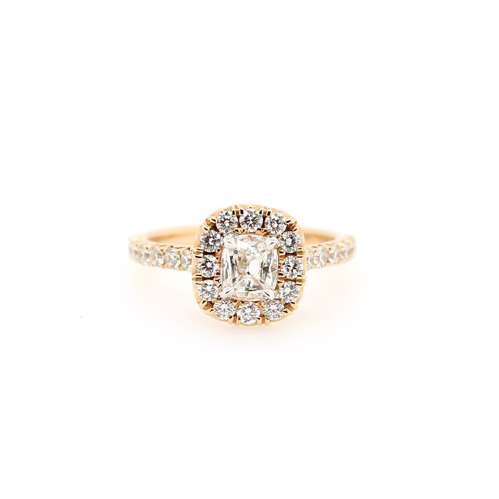 Henry Daussi 18 Karat Rose Gold Cushion Cut Diamond Halo Ring