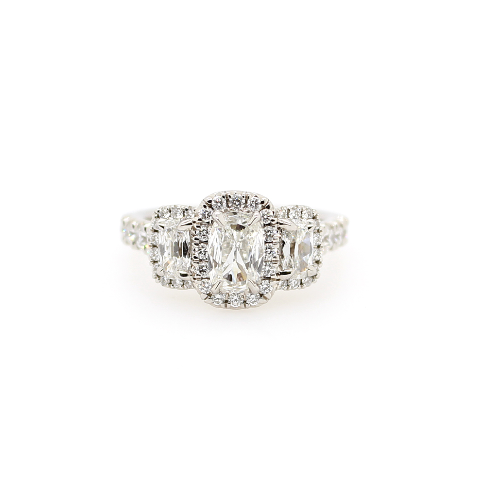 Henry Daussi 18 Karat White Gold 3 Cushion Cut Diamond Halo Ring