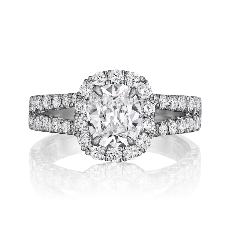 Henry Daussi 18 Karat White Gold Cushion Cut Diamond Halo Ring