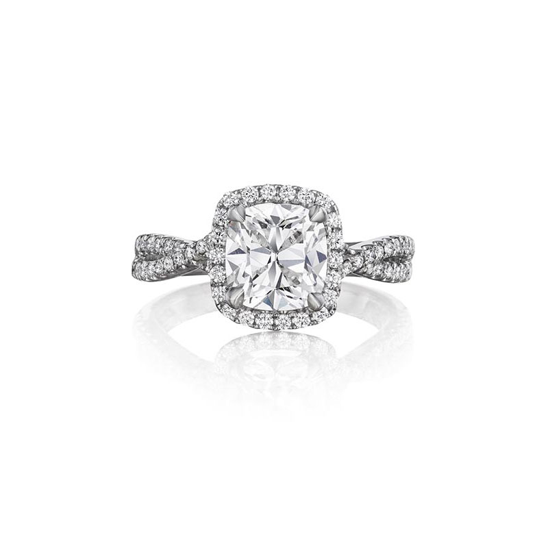 Henry Daussi 18 Karat White Gold Cushion Cut Diamond Halo Infinity Shank Ring