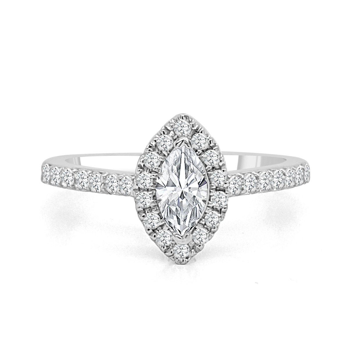 Paramount Gems 14 Karat White Gold Marquise Diamond Bridal Ring