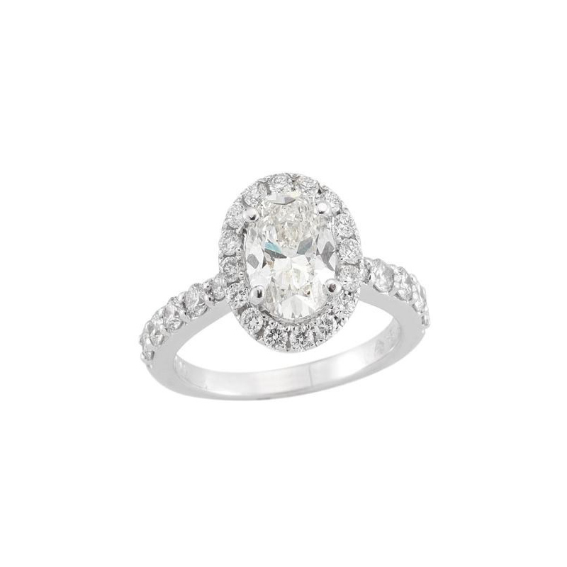 Paramount Gems 14 Karat White Gold Oval Diamond Bridal Ring