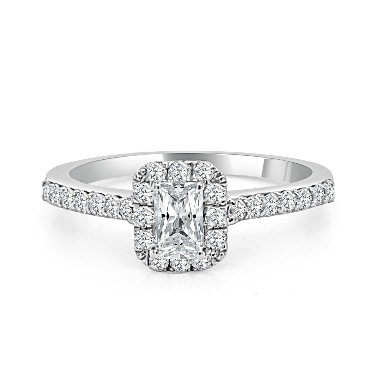 Paramount Gems 14 Karat White Gold Emerald Cut Diamond Bridal Ring