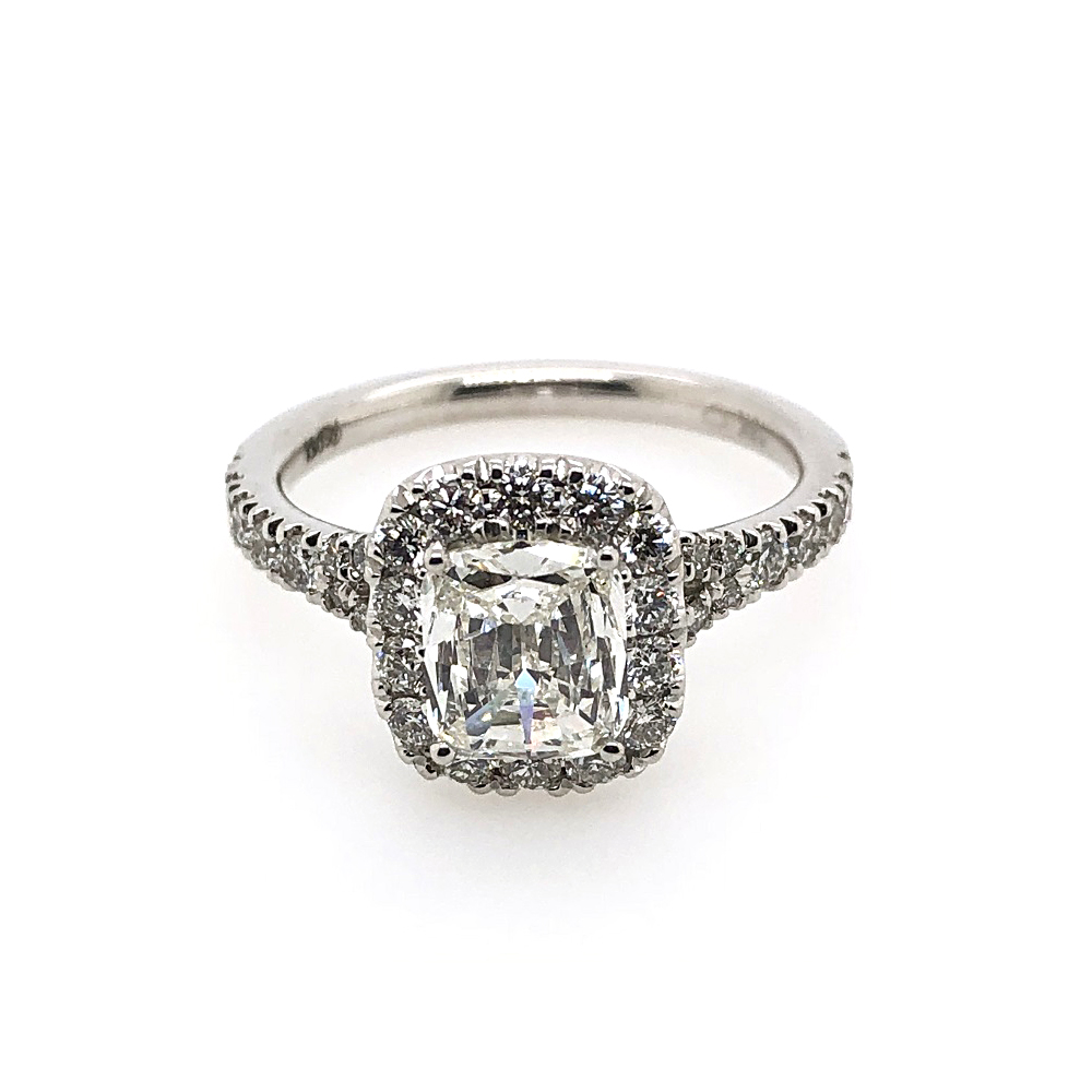 18 Karat White Gold AGS Certified Cushion Cut Diamond Halo Ring