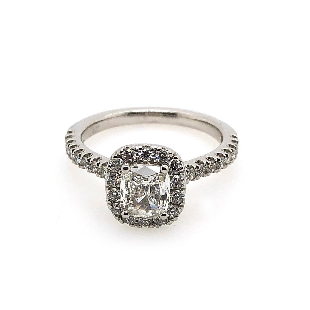 14 Karat White Gold AGS Certified Cushion Cut Diamond Halo Ring