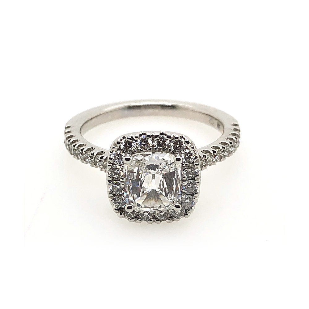 14 Karat White Gold GIA Certified Cushion Cut Diamond Halo Ring