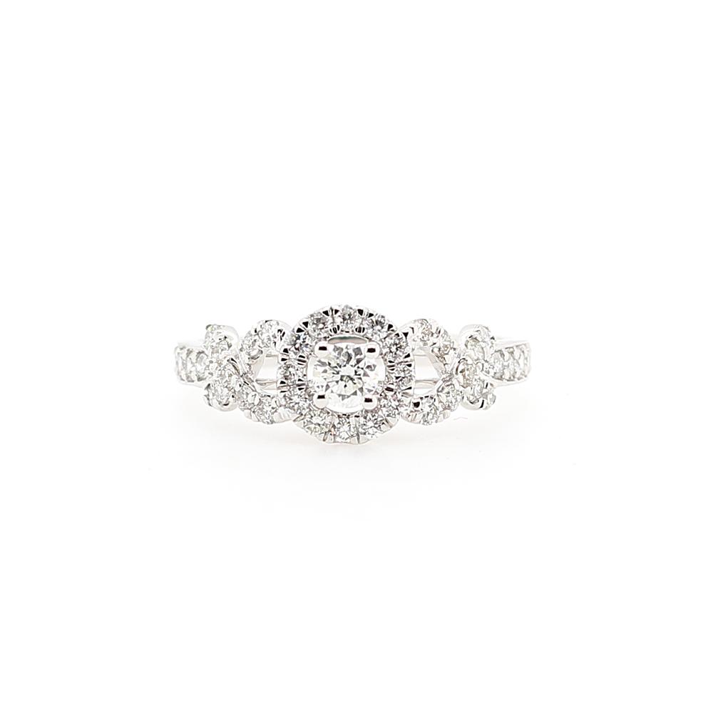 Paramount Gems 18 Karat White Gold Diamond Bridal Crossover Ring