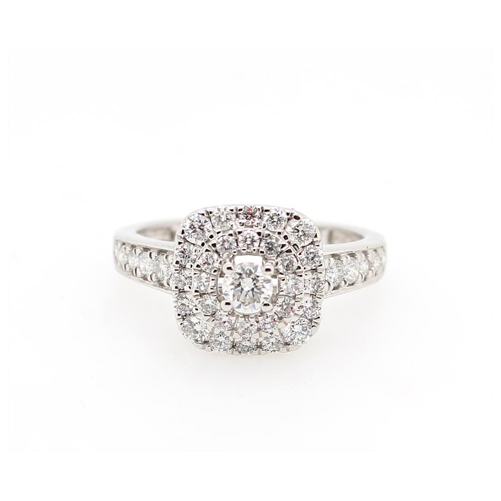 Paramount Gems 18 Karat White Gold Square Diamond Halo Ring