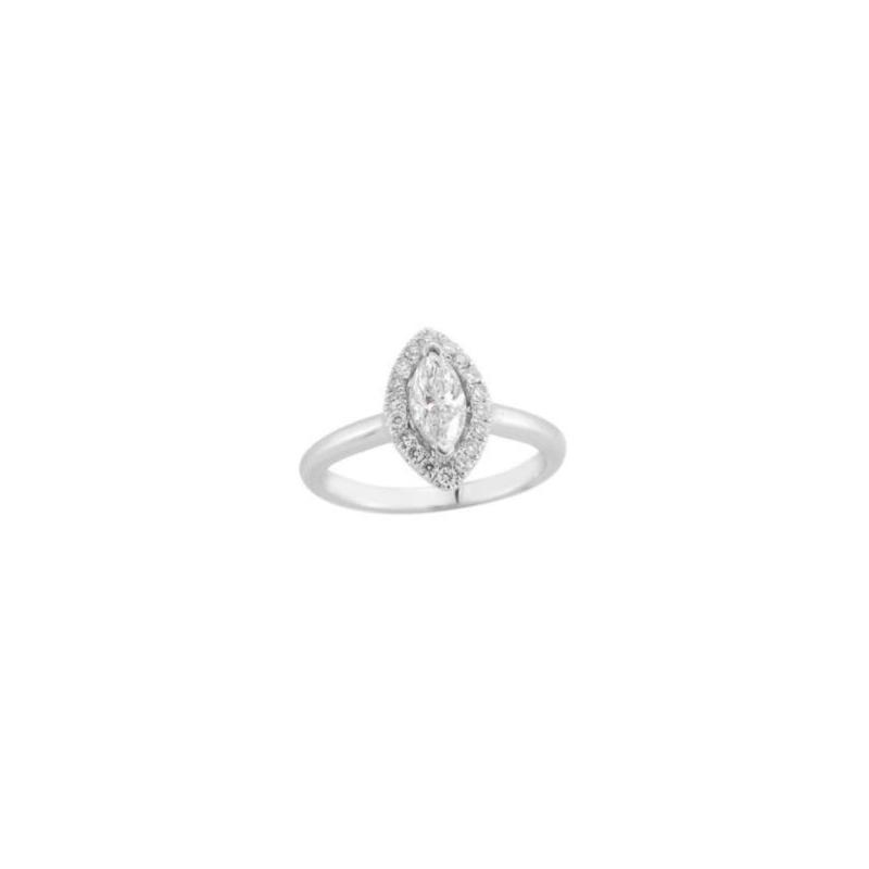 Paramount Gems 14 Karat White Gold Diamond Marquise Halo Bridal Ring