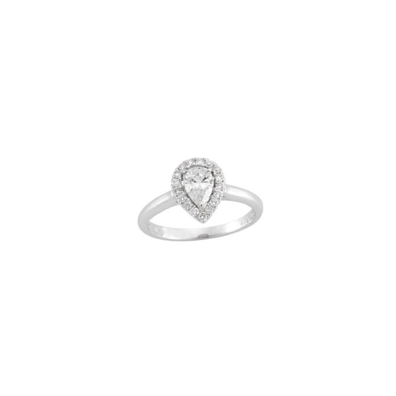 14 Karat White Gold Pear Shaped Diamond Halo Bridal Ring