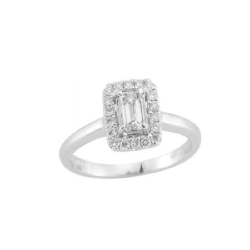 Paramount Gems 14 Karat White Gold Diamond Emerald Cut Halo Bridal Ring