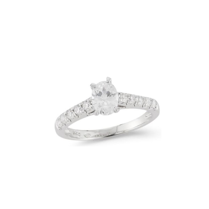 Paramount Gems 14 Karat White Gold Diamond Oval Bridal Ring