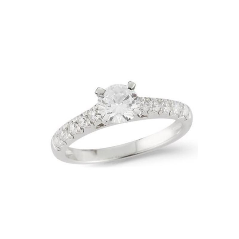 Paramount Gems 14 Karat White Gold Diamond Round Bridal Ring