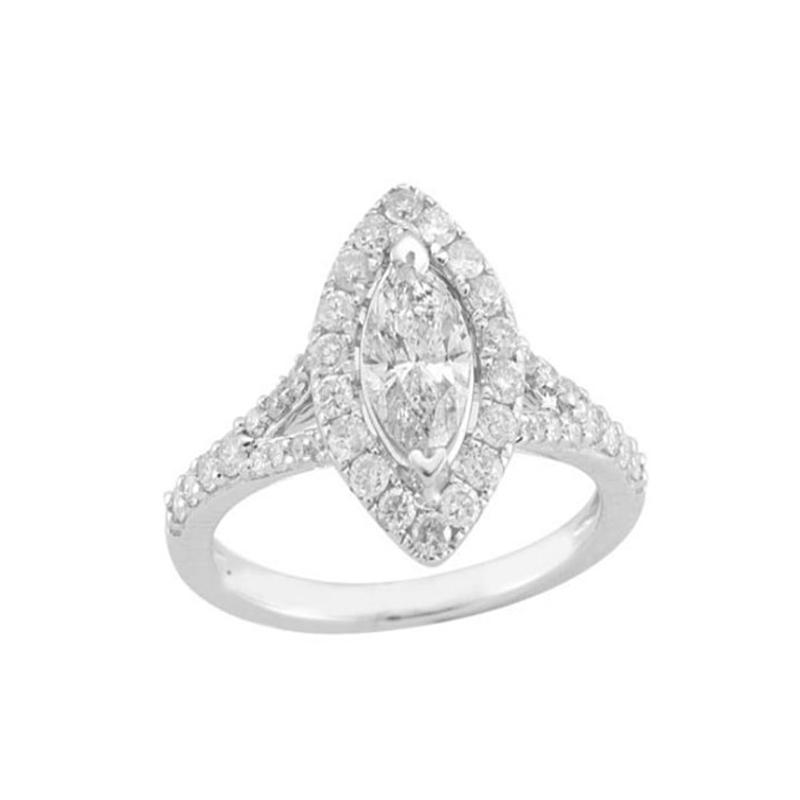 14 Karat White Gold Marquise Shaped Diamond Halo Bridal Ring