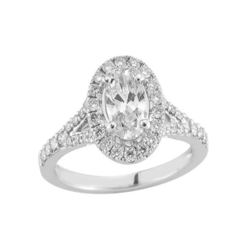 Paramount Gems 14 Karat White Gold Diamond Oval Halo Bridal Ring