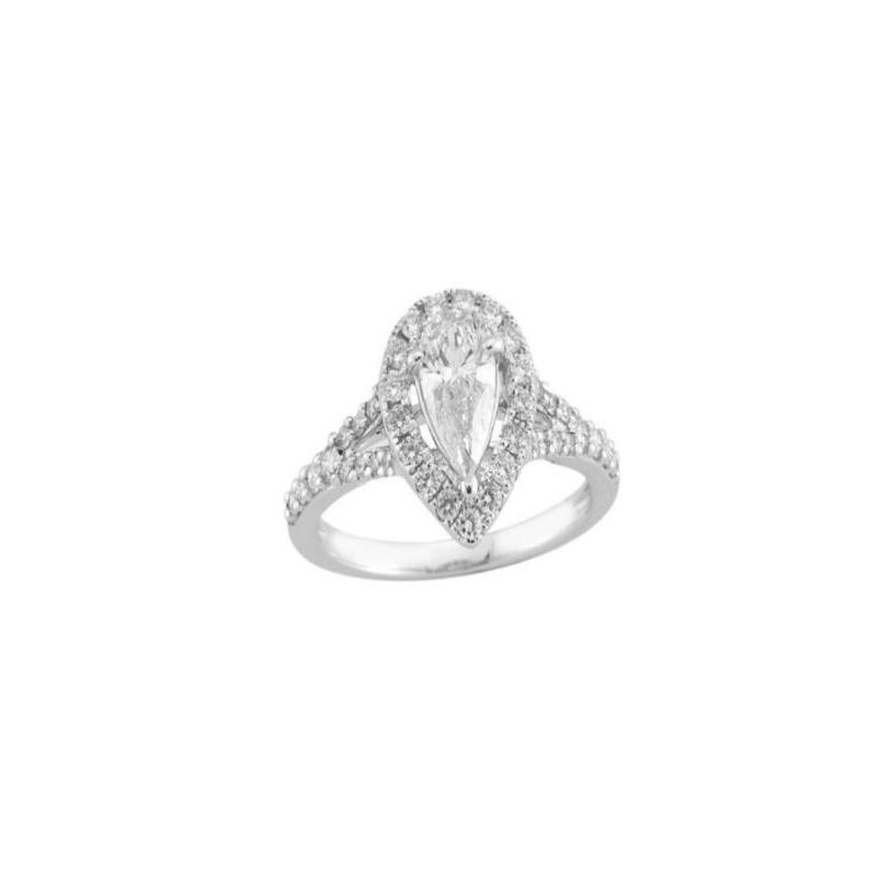 Paramount Gems 14 Karat White Gold Diamond Pear Shaped Bridal Ring