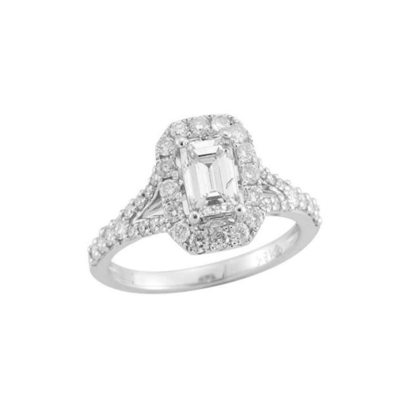Paramount Gems 14 Karat White Gold Diamond Emerald Cut Bridal Ring