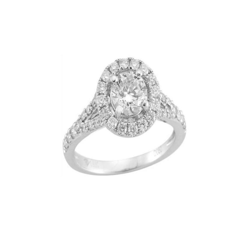 Paramount Gems 14 Karat White Gold Diamond Round Halo Bridal Ring