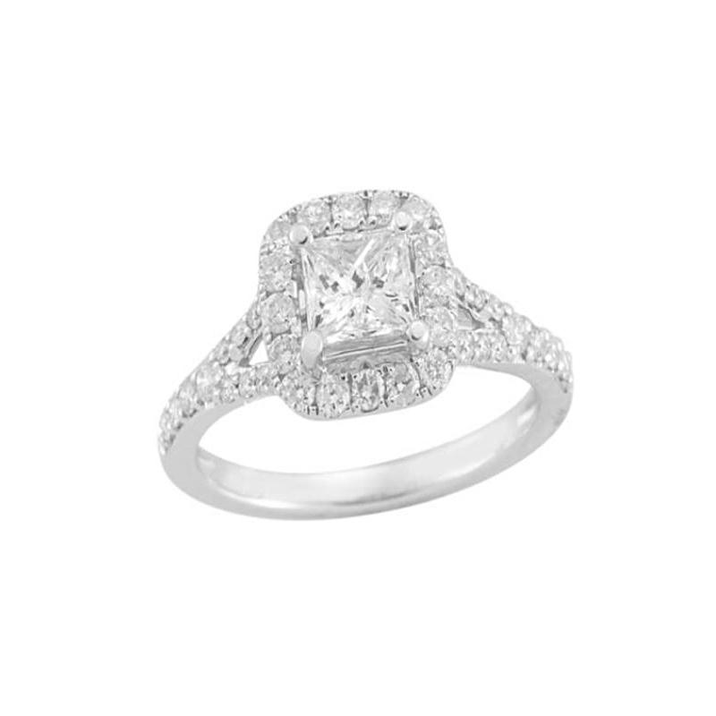 Paramount Gems 14 Karat White Gold Princess Cut Diamond Halo Bridal Ring