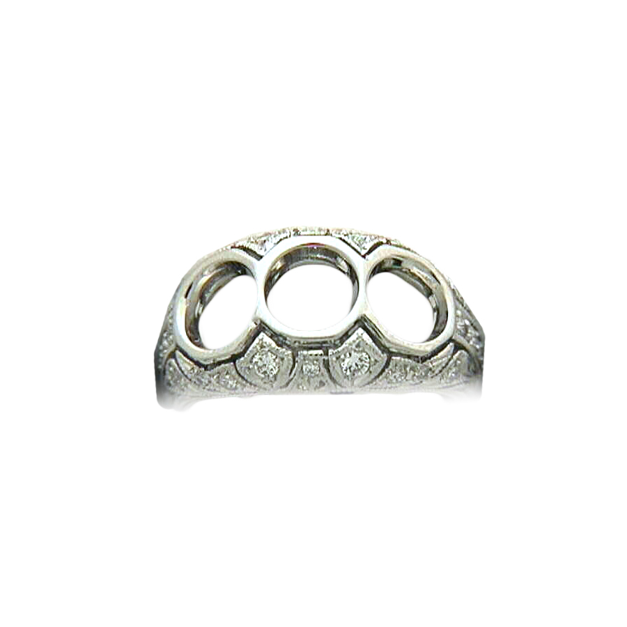 Platinum Antique Reproduction Three Across Diamond Semi Mount Ring