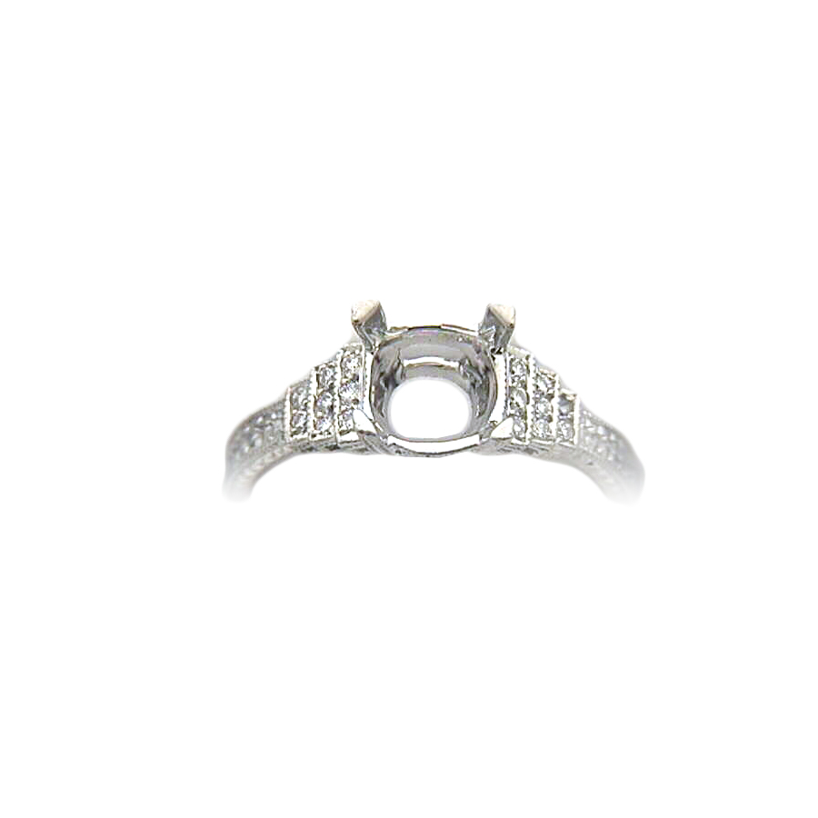 Platinum Antique Reproduction Diamond Semi Mount Ring