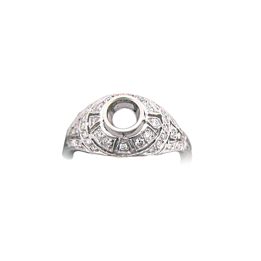 Platinum Antique Reproduction Diamond Semi Mount Ring