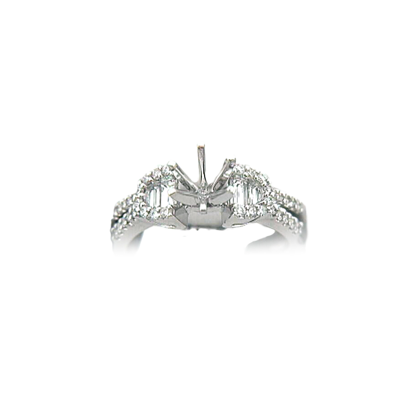 18 Karat White Gold Diamond Semi-Mount Ring