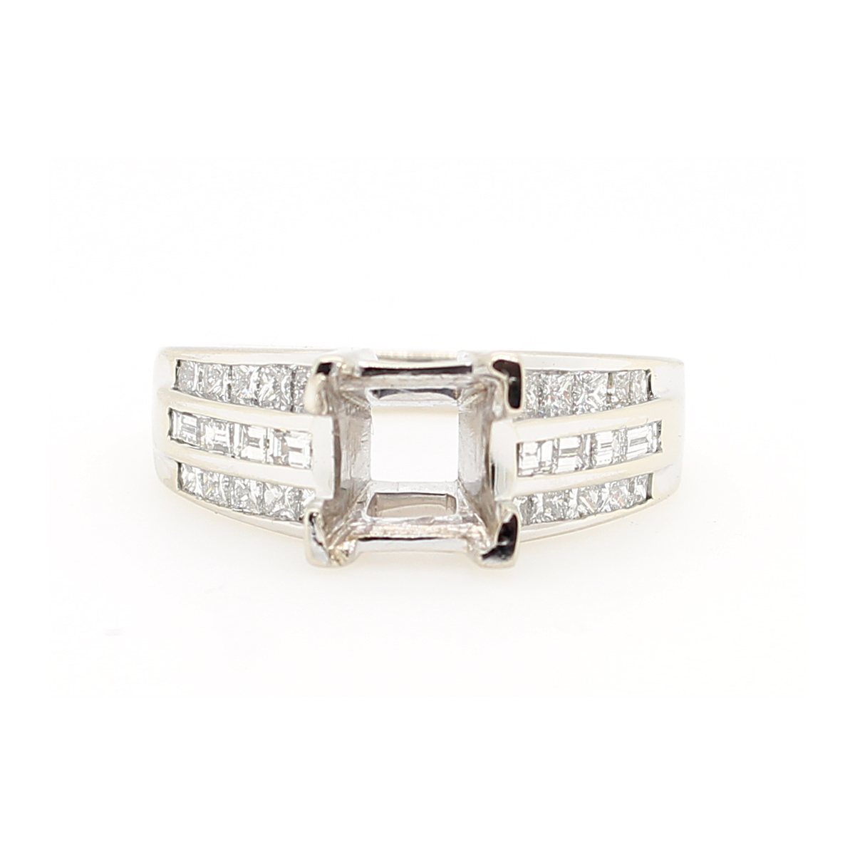 18 Karat White Gold Three Row Diamond Semi-Mount Ring