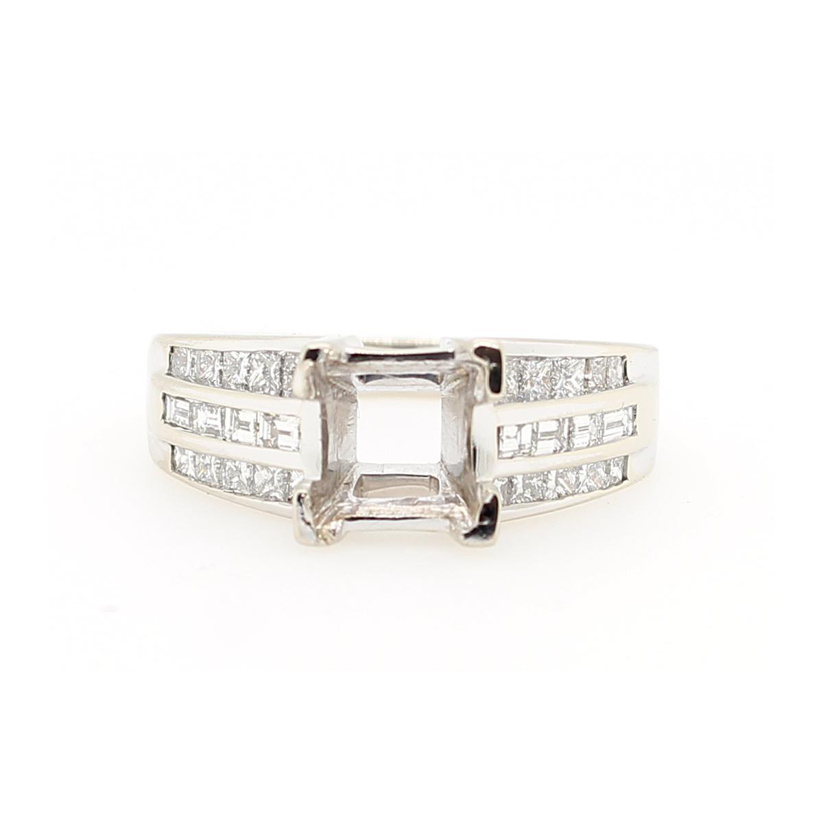 18 Karat White Gold Three Row Diamond Semi-Mount Ring