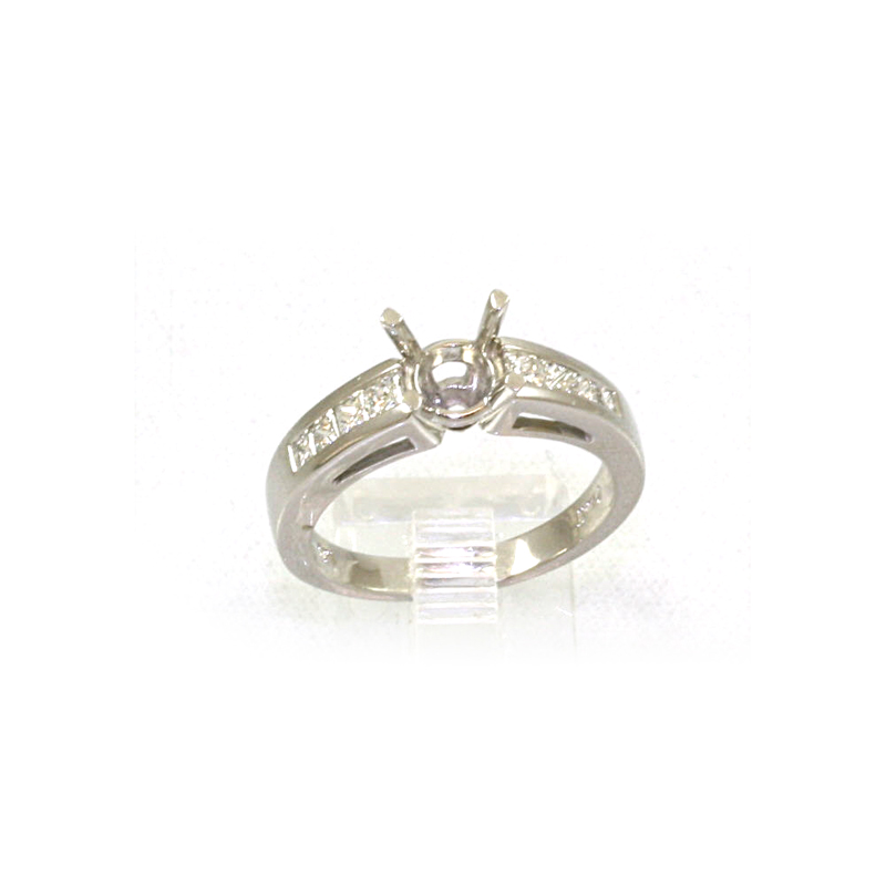 Platinum Round Diamond Semi Mount Ring