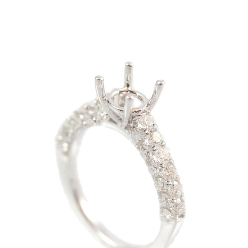 Amden Jewelry Seamless Collection 18 Karat White Gold Round Diamond Semi-Mount Ring
