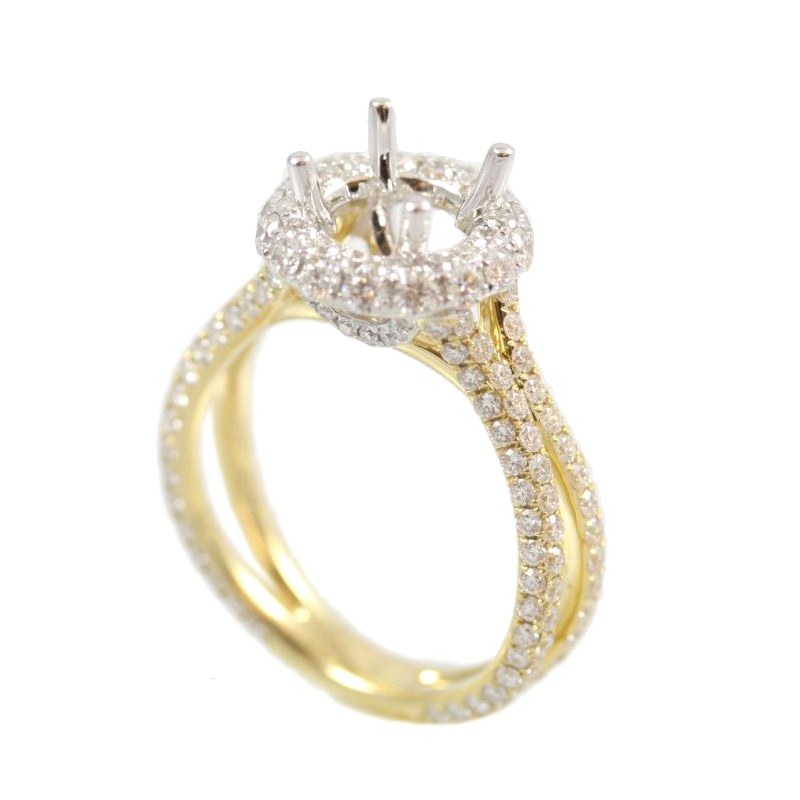 Amden Jewelry Seamless Collection 18 Karat White and Yellow Gold Round Diamond Semi-Mount Ring