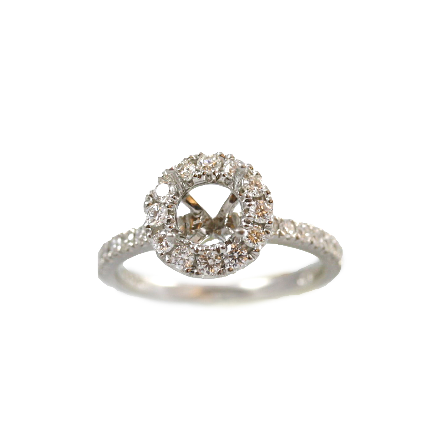 Platinum Round Halo Diamond Semi Mount Ring