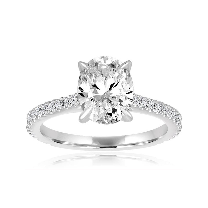 14 Karat white old and oval center diamond semi mount ring.