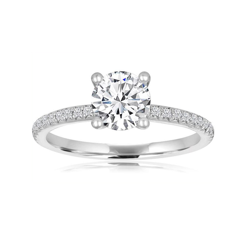 14 Karat white gold and round center diamond semi mount ring.