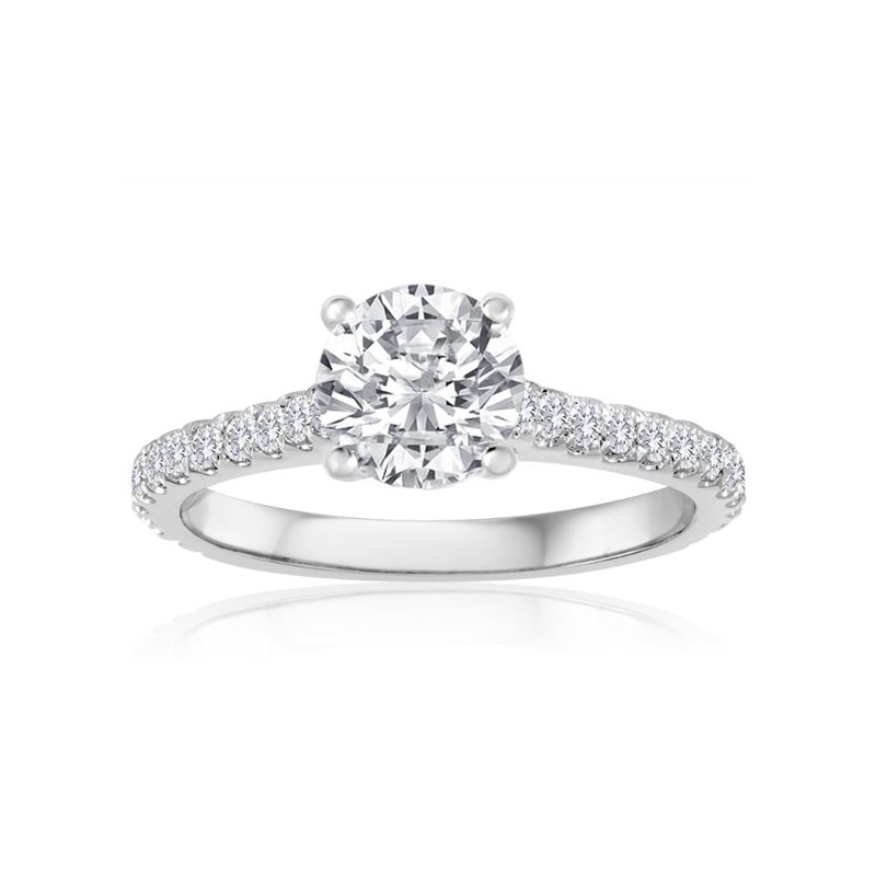 14 Karat white gold and round diamond semi mount ring.