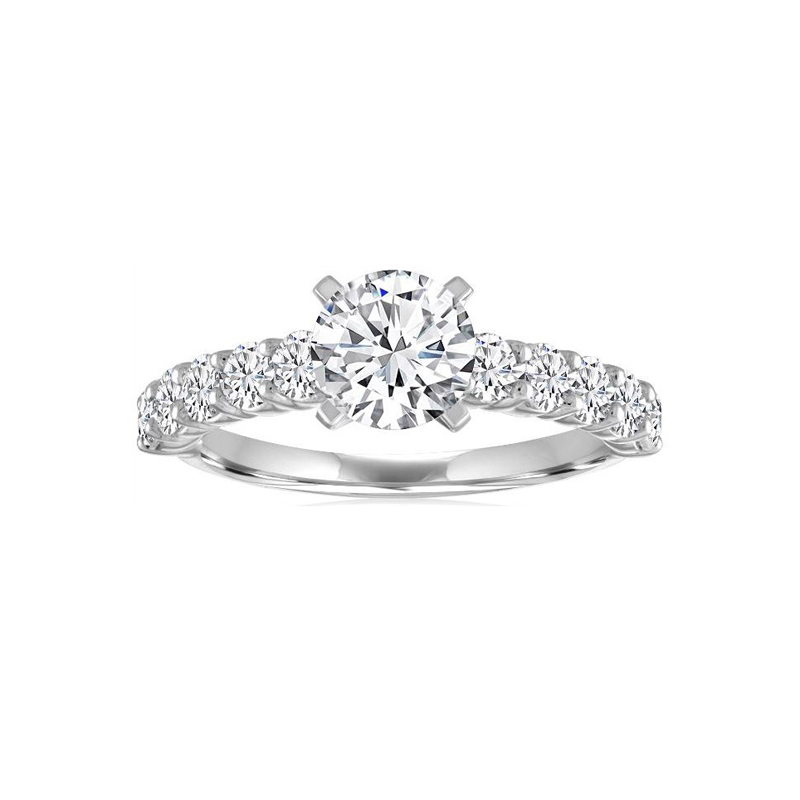 14 Karat white gold and round center diamond semi mount ring.