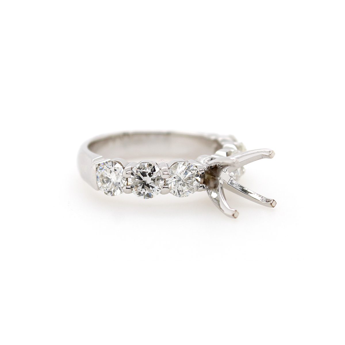 Shefi Diamonds 14 Karat White Gold 2 Carat Round Brilliant Semi-Mount Engagement Ring