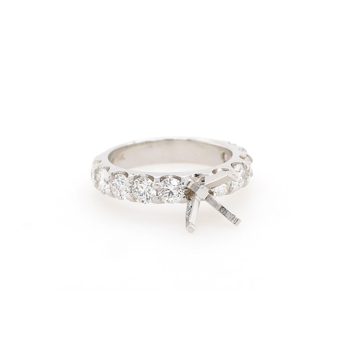 Shefi Diamonds 14 Karat White Gold 1.5 Carat Diamond Semi-Mount Engagement Ring