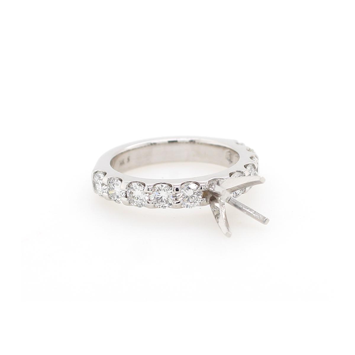 Shefi Diamonds 14 Karat White Gold 2 Carat Diamond Semi-Mount Engagement Ring