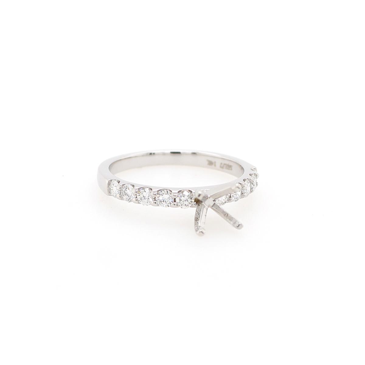 14 Karat White Gold .5 Carat Diamond Semi-Mount Engagement Ring
