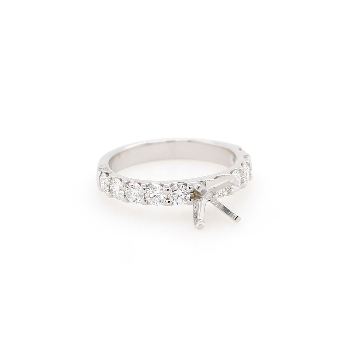 14 Karat White Gold 1 Carat Diamond Semi-Mount Engagement Ring