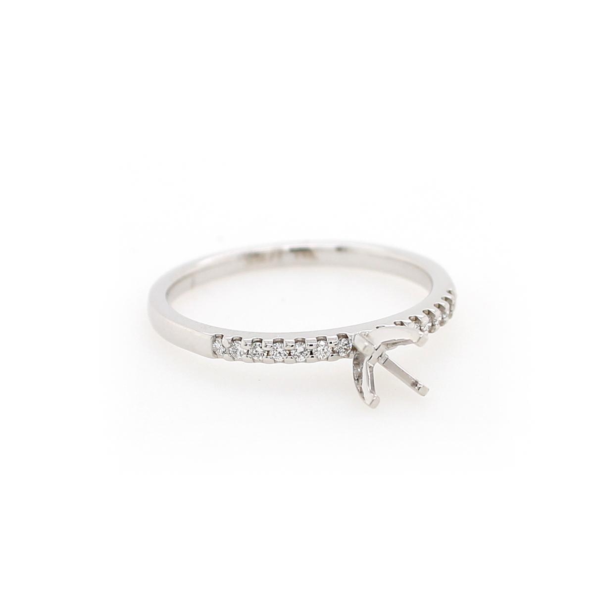 14 Karat White Gold .1 Carat Diamond Semi-Mount Engagement Ring