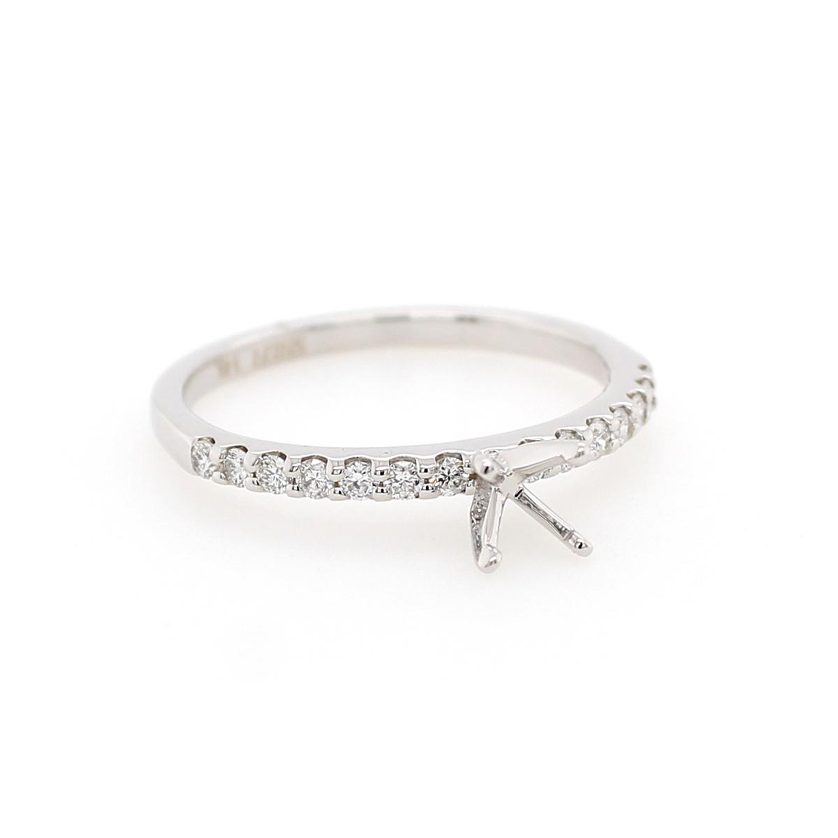 14 Karat White Gold .25 Carat Diamond Semi-Mount Engagement Ring
