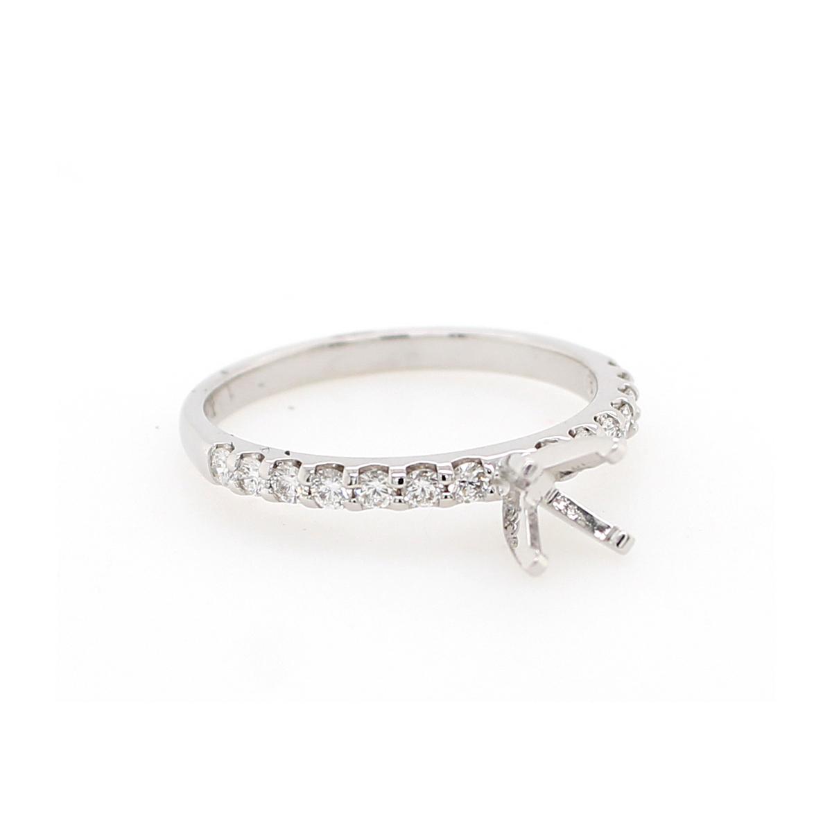 14 Karat White Gold .33 Carat Diamond Semi-Mount Engagement Ring