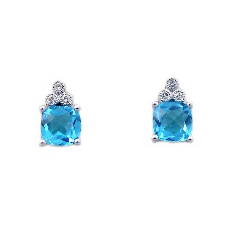 14 Karat White Gold Cushion Cut Blue Topaz and Diamond Earrings