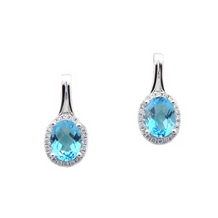 14 Karat White Gold Oval Blue Topaz and Diamond Earrings