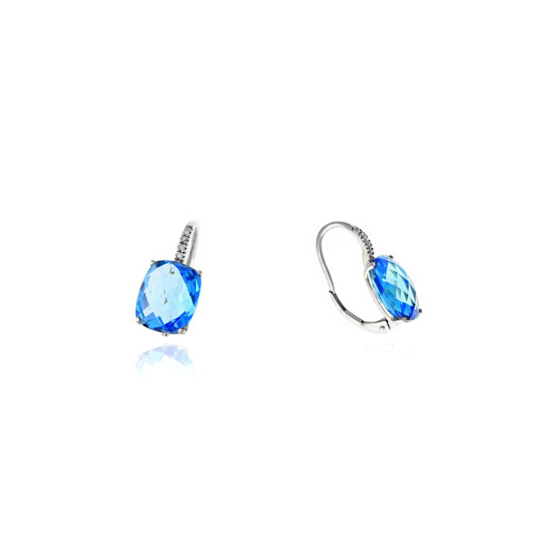 Ryan Gems 14 Karat White Gold Blue Topaz and Diamond Earrings